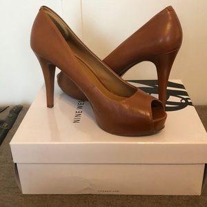 Nine West camel/cognac peep toe heel- worn once